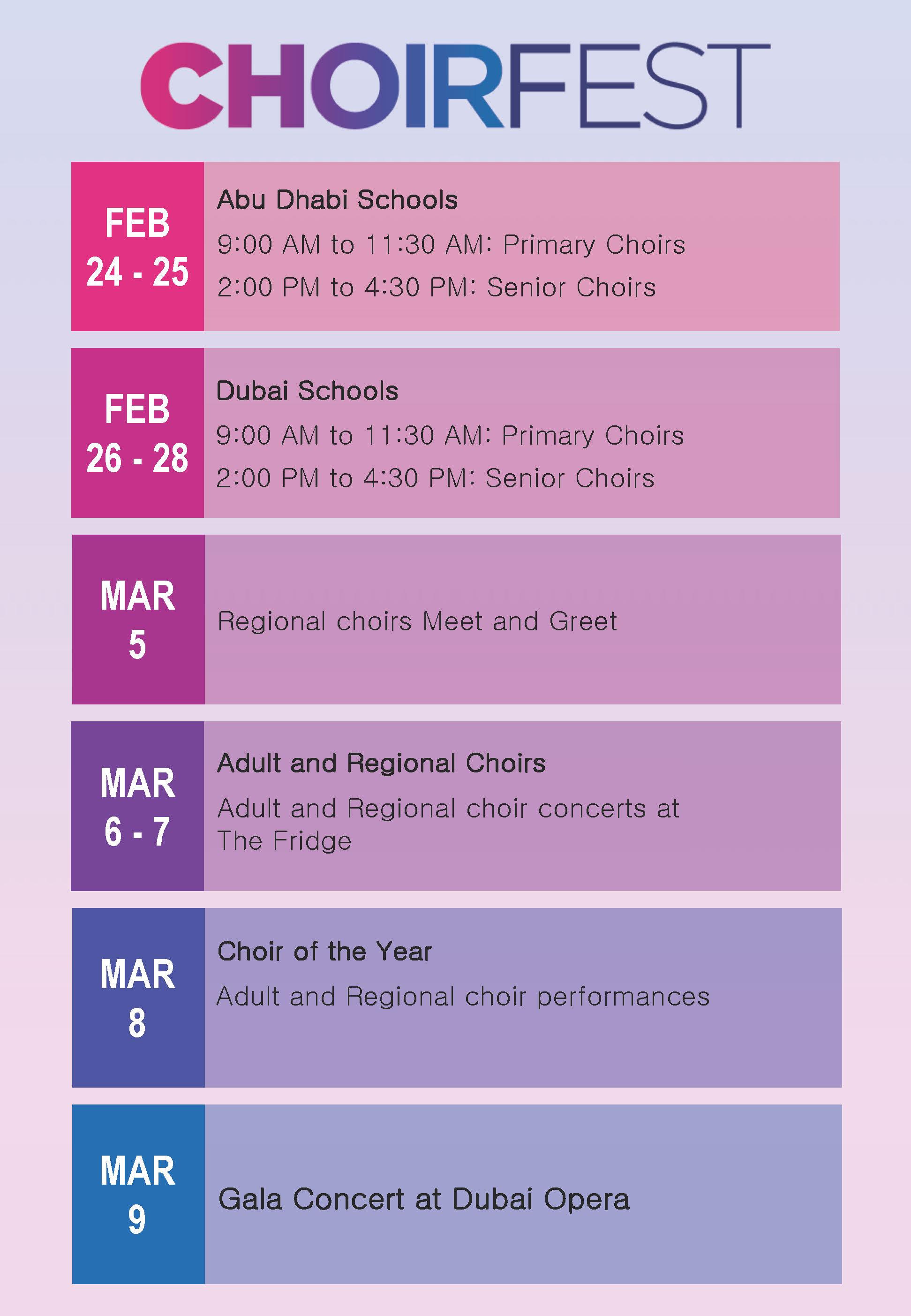 Choirfest Schedule
